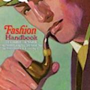 Gq Cover Of An Illustration Of A Man Smoking Pipe Art Print