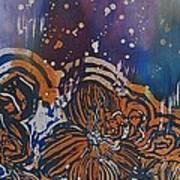 Graceful Wild Orchids In Blue/orange Art Print