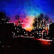 Graduate Housing Princeton University Nightscape Art Print