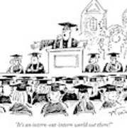Graduation Speaker Addressing Graduates Seated Art Print