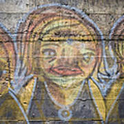 Graffiti Covered Cement Wall Art Print