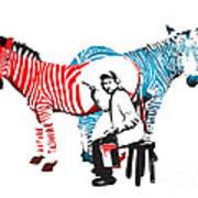 Graffiti Print Of Rembrandt Painting Stripes Zebra Painter Art Print