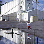 Grain Elevators And Child Art Print