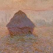 Grainstack  Sun In The Mist Art Print