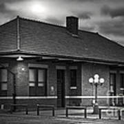 Train Depot At Night - Noir Art Print