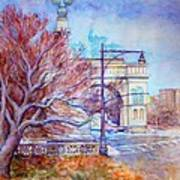 Grand Army Plaza With Lamppost And Tree Art Print