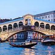 Grand Canal And Rialto Bridge At Dusk - Venice Art Print