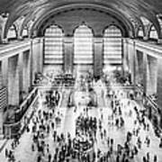 Grand Central Terminal Birds Eye View I Bw Art Print