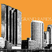 Grand Rapids Skyline - Orange Art Print