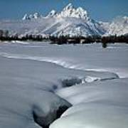 1m9304-grand Teton From Jackson Hole, Winter, H Art Print
