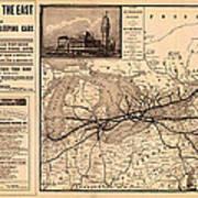 Grand Trunk Railway Map 1887 Art Print