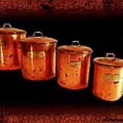 Grandma's Kitchen-copper Canister Set Art Print