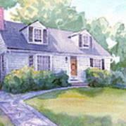 Grandmothers Cottage Watercolor Portrait Art Print