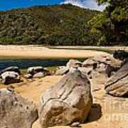 Granite Boulders In Abel Tasman Np New Zealand Art Print