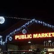 Granville Market Christmas Lights Vancouver Art Print