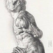 Graphite Drawing Of The Rebellious Slave Sculpture By Michelangelo Buonarotti Art Print