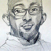 Graphite Portrait Sketch Of A Young Man With Glasses Art Print
