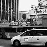 Gray Line New York Sightseeing Bus And Yellow Mpv Taxi Cab On 7th Avenue New York City Art Print