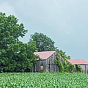Gray Sky - Red Roofed Barn - Green Fields Art Print