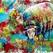 Grazing Sheep Art Print