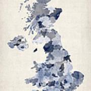 Great Britain Uk Watercolor Map Print by Michael Tompsett