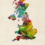 Great Britain Watercolor Map Art Print
