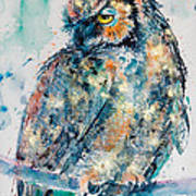 Great Horned Owl In Gold Art Print