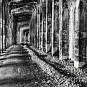 Great Northern Railroad Snow Shed - Black And White Art Print