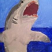Great White Shark Breaching Art Print
