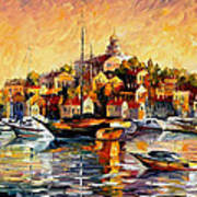 Greek Day - Palette Knife Oil Painting On Canvas By Leonid Afremov Art Print