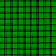 Green And Black  Plaid Cloth Background Art Print