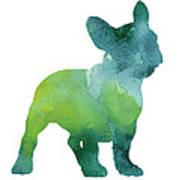 Green And Blue Abstract French Bulldog Watercolor Painting Art Print