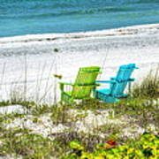 Green And Blue Chairs Art Print