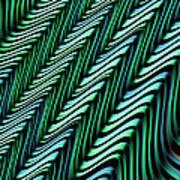 Green And Blue Folds Art Print