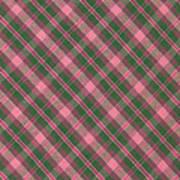 Green And Pink Diagonal Plaid Pattern Textile Background Art Print