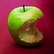 Green Apple Nibbled 5 Art Print