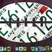 Green Bay Packers Football License Plate Art Art Print