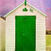 Green Beach Hut Art Print