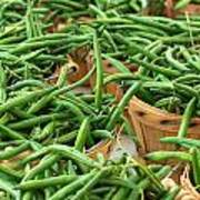 Green Beans In Baskets At Farmers Market Art Print
