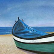 Green Boat Blue Skies Art Print