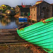 Green Boat Peggys Cove Art Print