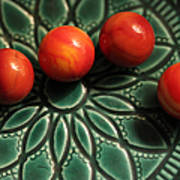 Green Bowl Red Marbles Art Print