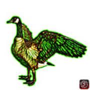 Green Canada Goose Pop Art - 7585 - Wb Art Print