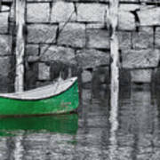 Green Dinghy Floating Art Print