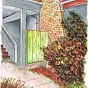 Green Door In Burbank - California Art Print