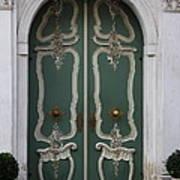 Green Door In Gdansk Art Print