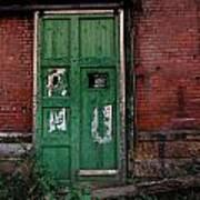 Green Door On Red Brick Wall Art Print