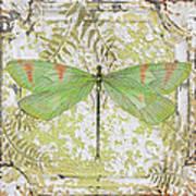 Green Dragonfly On Vintage Tin Art Print