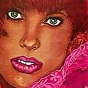 Green Eyed Redhead Art Print