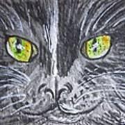 Green Eyes Black Cat Art Print
